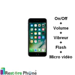 Réparation Bouton On/Off + volume + vibreur + Flash + Micro Vidéo iPhone 7